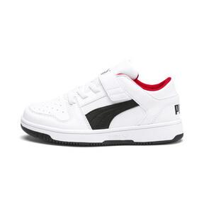 Thumbnail 1 of PUMA Rebound LayUp Lo Little Kids' Shoes, Puma White-Puma Black-Red, medium
