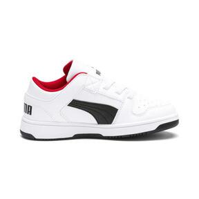 Thumbnail 5 of PUMA Rebound LayUp Lo Little Kids' Shoes, Puma White-Puma Black-Red, medium