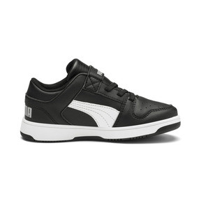 Thumbnail 4 of PUMA Rebound LayUp Lo Sneakers PS, Puma Black-White-High Rise, medium