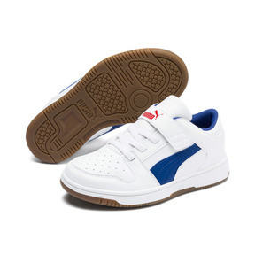 Thumbnail 2 of PUMA Rebound LayUp Lo Sneakers PS, Puma White-Galaxy Blue-Red, medium
