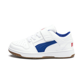 Thumbnail 1 of PUMA Rebound LayUp Lo Sneakers PS, Puma White-Galaxy Blue-Red, medium
