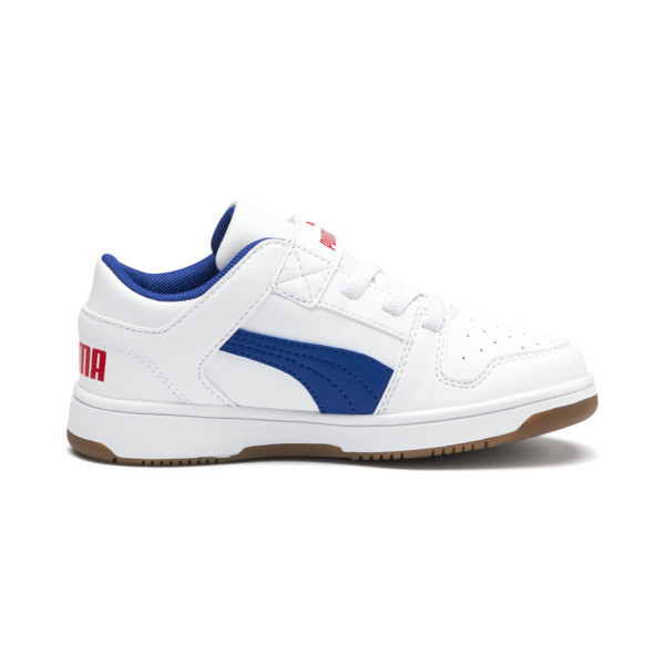 PUMA Rebound LayUp Lo Sneakers PS, Puma White-Galaxy Blue-Red, large