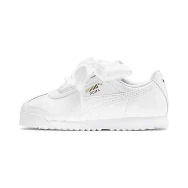 Zapatos de charol Roma Heart para niña pequeña, Puma White, grande
