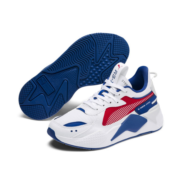 RS-X Hard Drive Youth Trainers, Puma White-High Risk Red, large