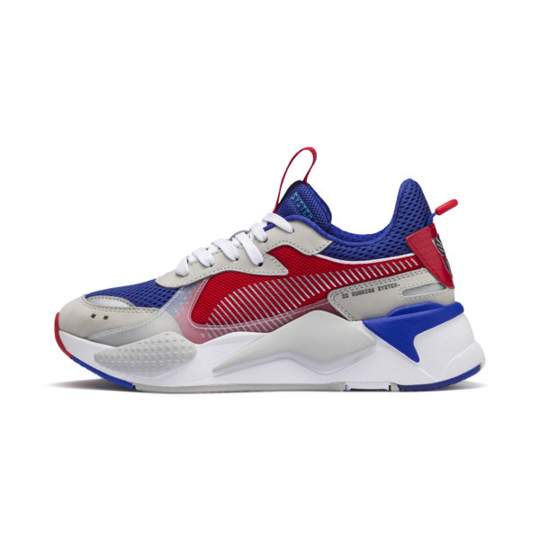 PUMA x TRANSFORMERS RS-X Optimus Prime Youth Trainers, Dazzling Blue-High Risk Red, large