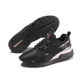 Miniatura 3 de Zapatos deportivos Muse X-2 Metallic para mujer, Puma Black-Rose Gold, mediano