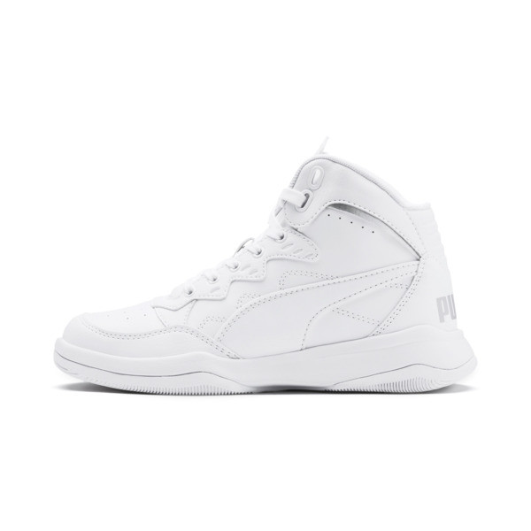 PUMA Rebound Playoff SL Sneakers JR, Puma White-Puma Silver, large