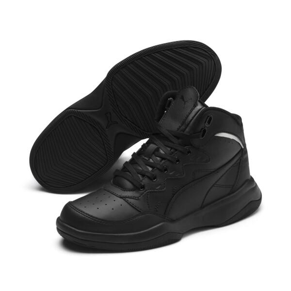 PUMA Rebound Playoff SL Sneakers JR, Puma Black-Puma Silver, large
