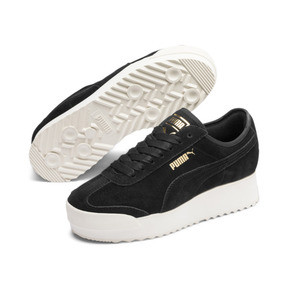 Thumbnail 3 of Roma Amor Suede Women's Sneakers, Puma Black-Puma Team Gold, medium