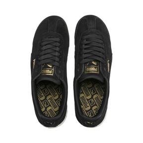 Thumbnail 7 of Roma Amor Suede Women's Sneakers, Puma Black-Puma Team Gold, medium