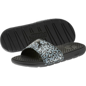 Thumbnail 2 of Cool Cat Sport Leopard Print Women's Slides, Puma Black-Glacier Gray, medium