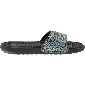 Thumbnail 4 of Cool Cat Sport Leopard Print Women's Slides, Puma Black-Glacier Gray, medium