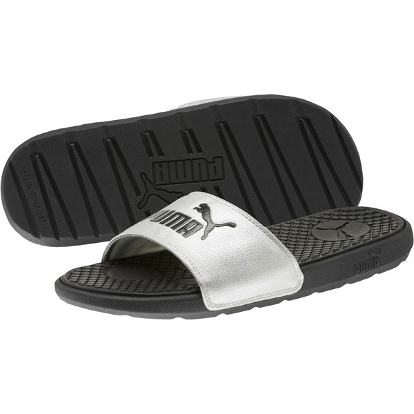 Cool Cat Metallic Women's Slides, Puma Black-Puma Silver, large