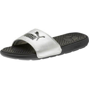 Thumbnail 1 of Cool Cat Metallic Women's Slides, Puma Black-Puma Silver, medium