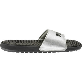 Thumbnail 4 of Cool Cat Metallic Women's Slides, Puma Black-Puma Silver, medium