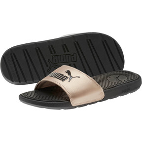 Thumbnail 2 of Cool Cat Metallic Women's Slides, Puma Black-Rose Gold, medium