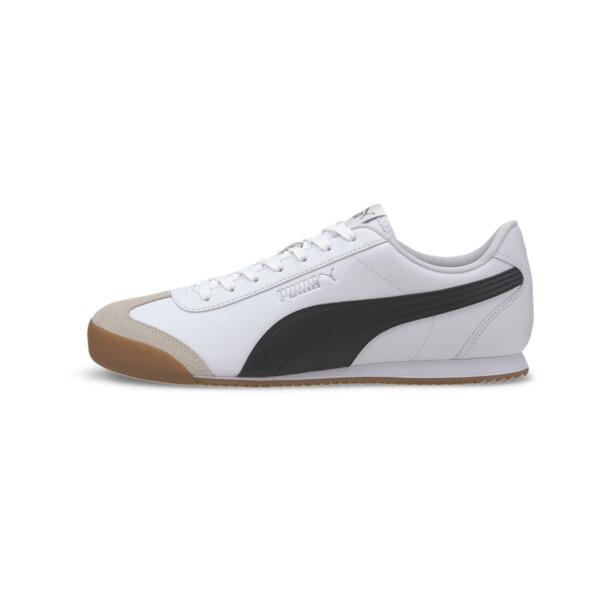 puma turino men's sneakers in white/black/gum, size 11