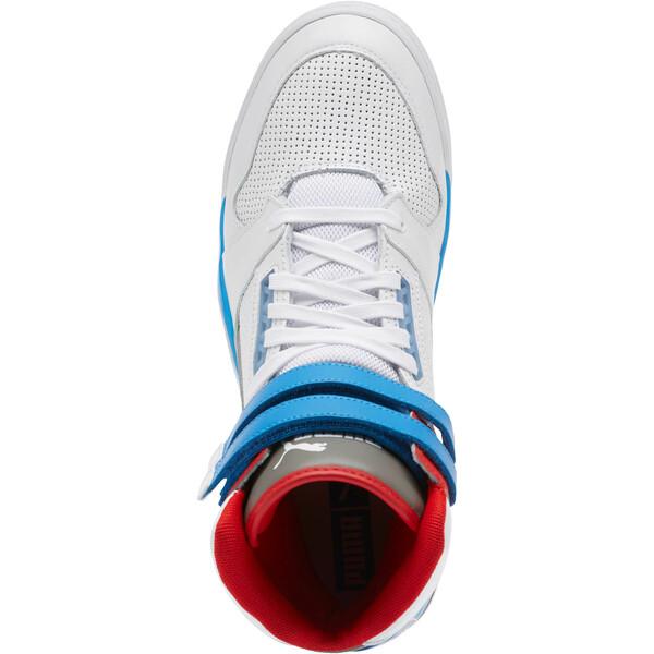 Zapatos deportivos de caña media Palace Guard Retro, White-Indigo Bunting-Red, grande