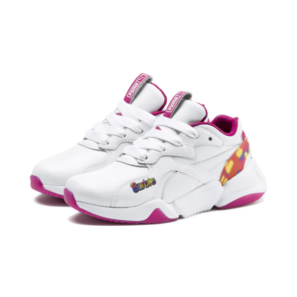 PUMA x BARBIE Nova Flash Kid Girls' Trainers, Puma White-CABARET, large