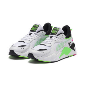 Thumbnail 2 of PUMA x MTV RS-X Tracks Yo! Raps Europe Trainers, Puma White-802 C Fluro Green, medium