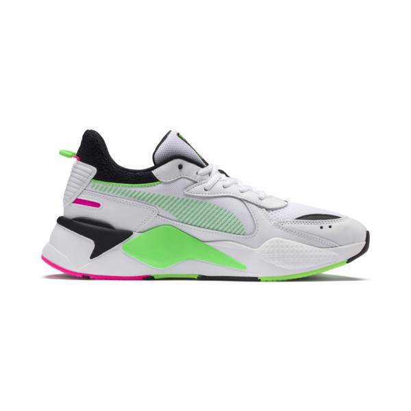 PUMA x MTV RS-X Tracks Yo! Raps Europe Trainers, Puma White-802 C Fluro Green, large