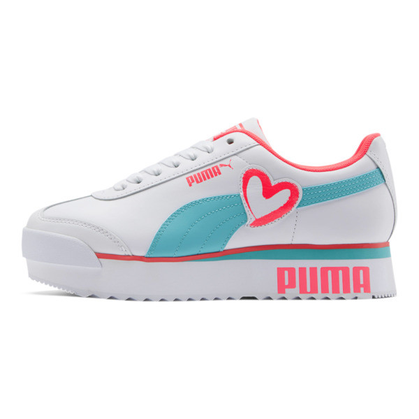 Roma Amor Heart Women's Sneakers, White-Milky Blue-Pink Alert, large
