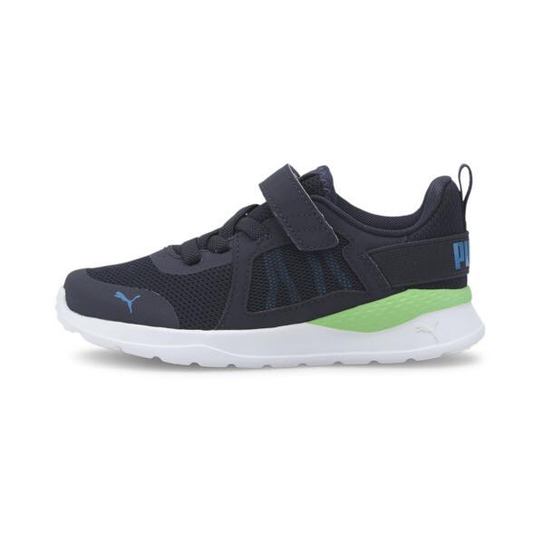 puma anzarun little kids' shoes in peacoat/blue/green, size 13