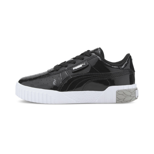 puma cali patent little kids' shoes in black/white, size 2.5