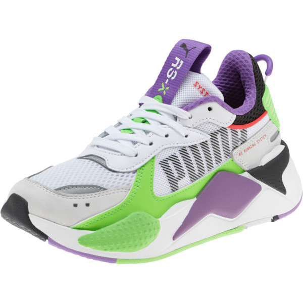 RS-X Bold Fluorescent Sneakers JR, PWhite-Gr Gecko-Royal Lilac, large