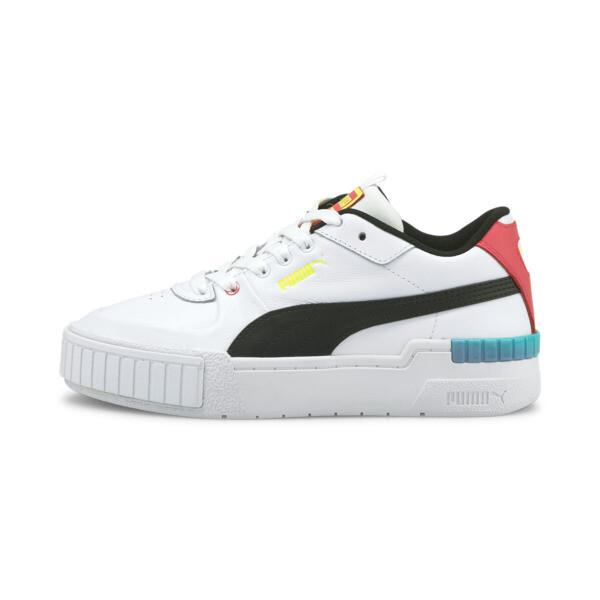 puma cali sport women's sneakers in white/elektro pool, size 5.5