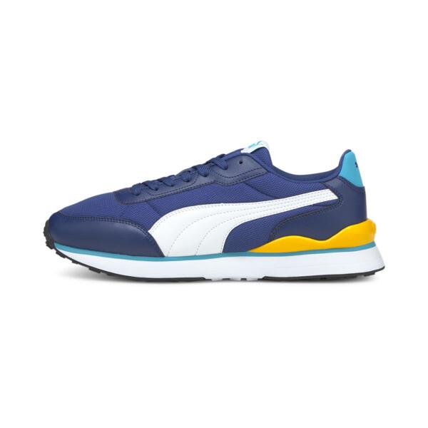 puma r78 futr decon men's sneakers in elektro blue/white, size 7
