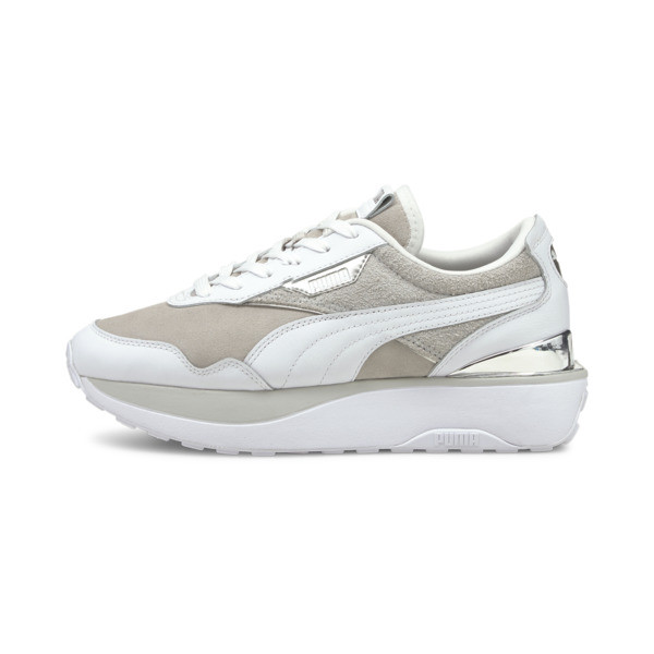 puma cruise rider 66 women's sneakers in grey/violet/white, size 5.5