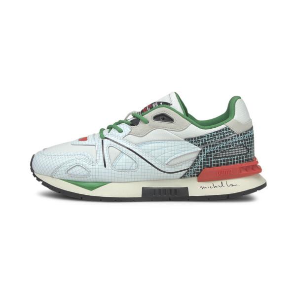 puma x michael lau mirage mox sneakers in white, size 7.5