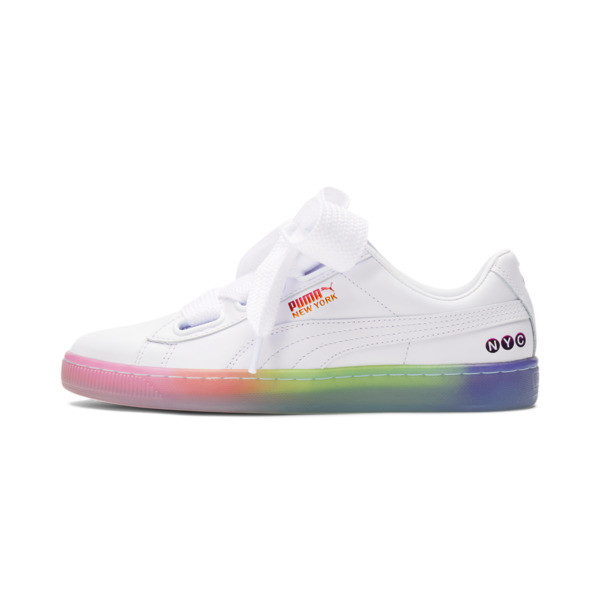 Get ready to hit the streets in a style that\\'s as classic as it is cute and colorful. The PUMA Basket Heart updates a court style from the \\'70s with oversizes satin bow lacing and a fully glossed patent upper. Complete with NYC branding and a rainbow translucent sole, this kick knows how to make a splash. | PUMA Basket Heart NYC Fade Women\\'s Sneakers in White/Luminous Pink, Size 5.5
