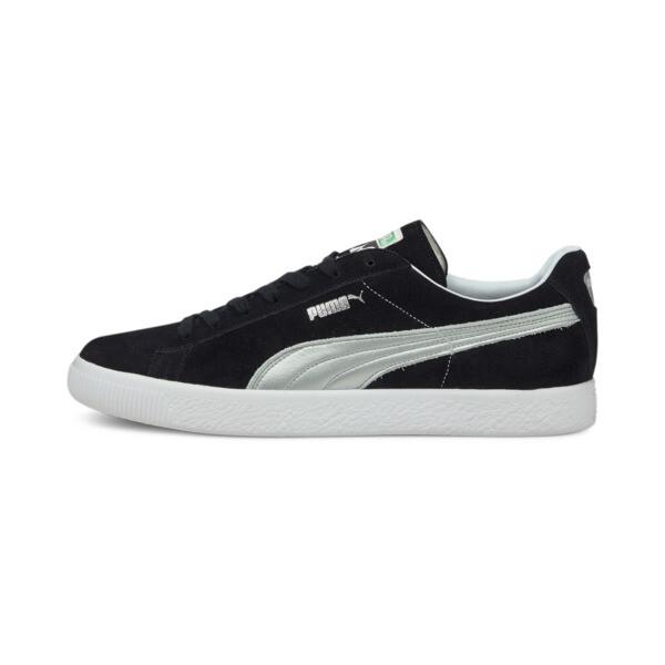 puma suede vintage made in japan men's sneakers in black/silver, size 11.5