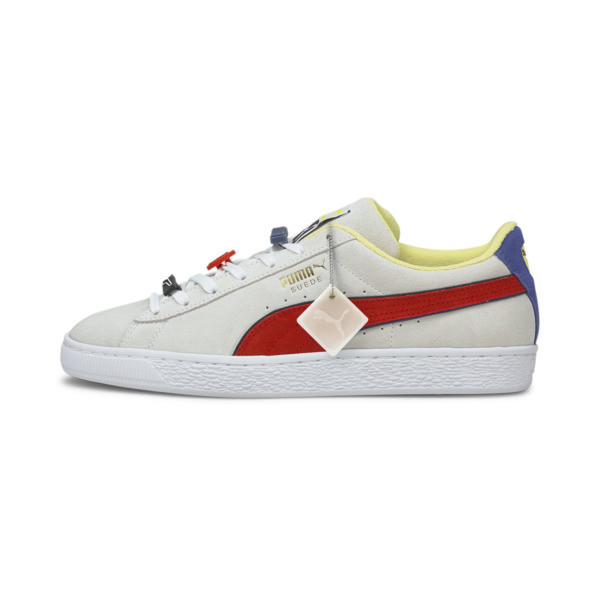 puma suede decor8 men's sneakers in white/poppy red, size 7