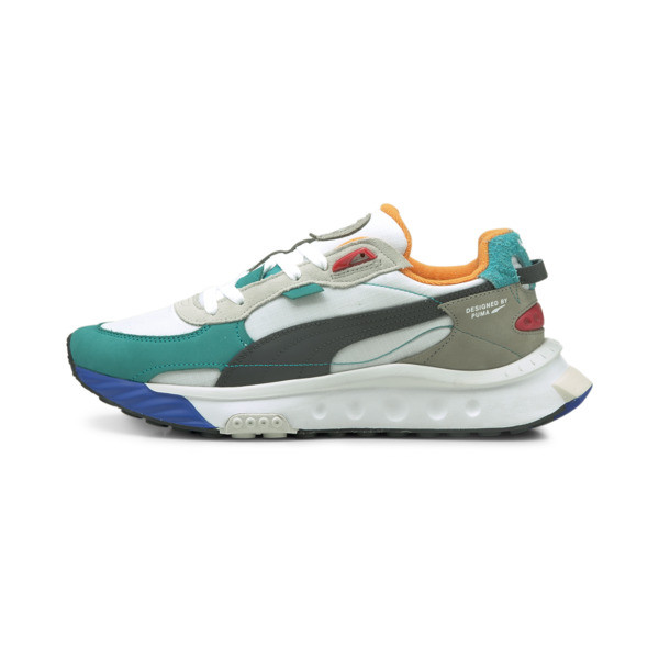 puma wild rider layers sneakers in white/viridian green, size 8