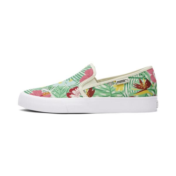 Puma Bari Cat Tropical Women's Slip-On Shoes In White/Green/Bubblegum, Size 5.5