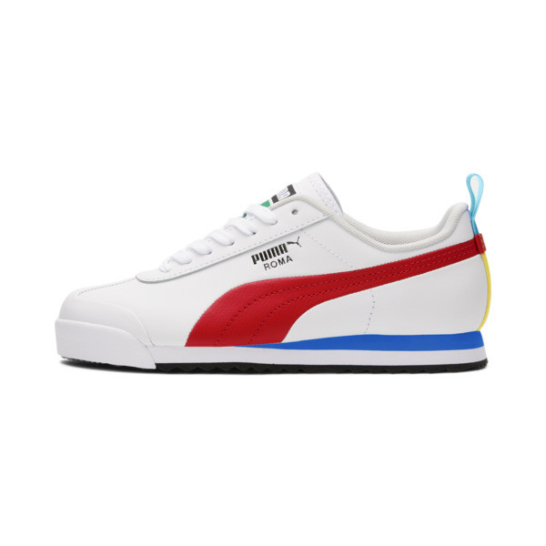 puma roma game sneakers jr in white/high risk red/black, size 4