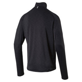 Thumbnail 4 of Running Herren Half Zip Langarm-Shirt, Black Heather-with black zip, medium