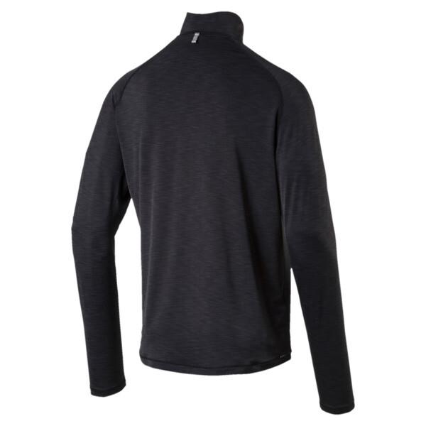 Running Herren Half Zip Langarm-Shirt, Black Heather-with black zip, large