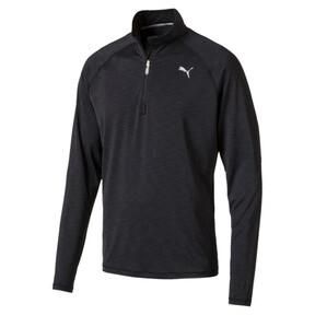 Thumbnail 1 of Running Herren Half Zip Langarm-Shirt, Black Heather-with black zip, medium