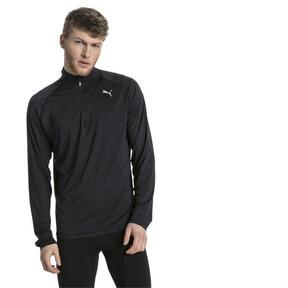 Thumbnail 2 of Running Herren Half Zip Langarm-Shirt, Black Heather-with black zip, medium