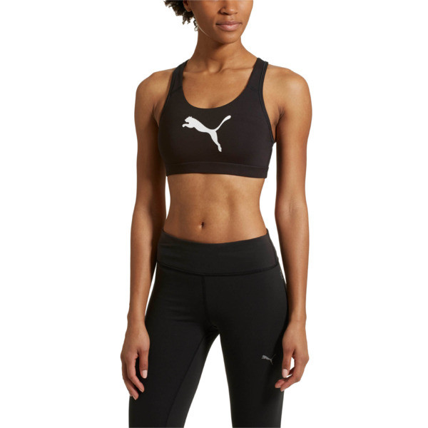 Training Women's PWRSHAPE Forever Logo Bra Top, Puma Black-White cat, large
