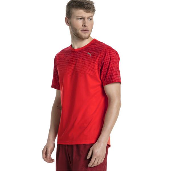 Graphic Short Sleeve Men's Running T-Shirt, Flame Scarlet, large
