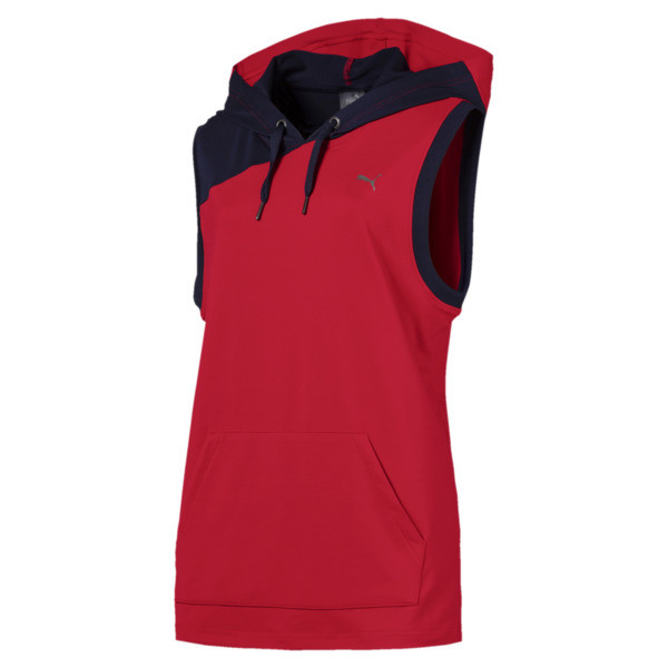 A.C.E. Sleeveless Women's Hoodie, Ribbon Red-Peacoat, large