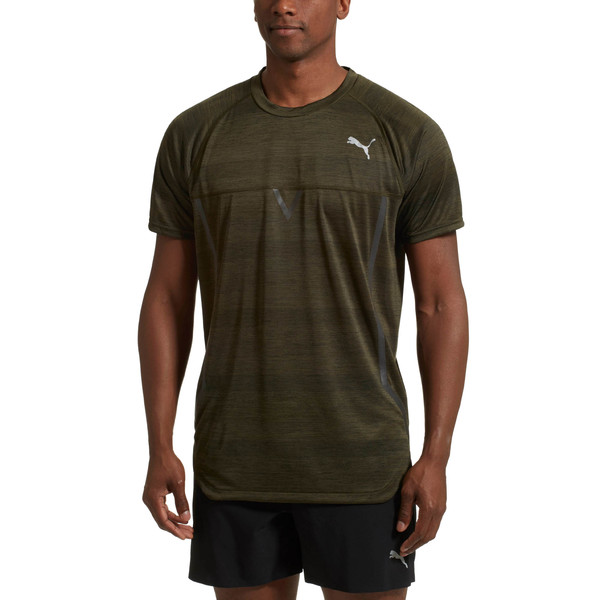 NeverRunBack VIZ Men's Training Tee, Forest Night Heather, large