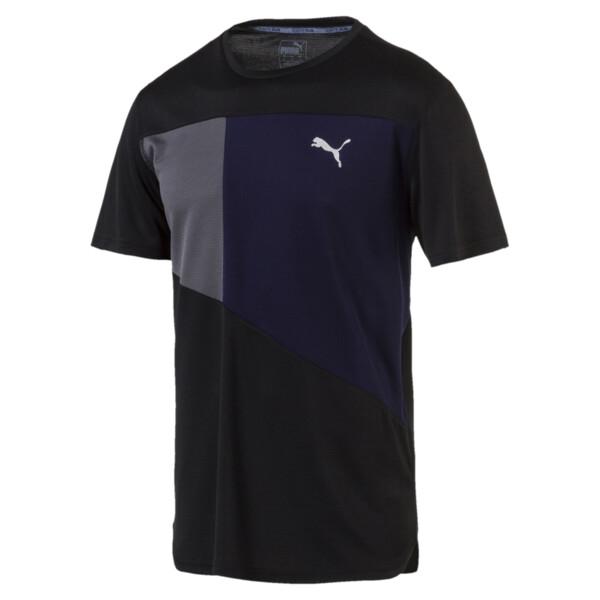 IGNITE Short Sleeve Men's Running Tee, Puma Black-Peacoat-Q4, large