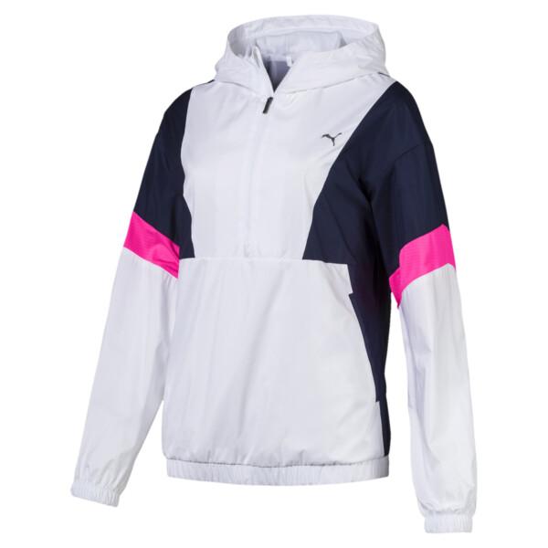 A.C.E Women's Jacket, White-Peacoat-KNOCKOUT PINK, large