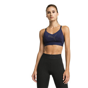 Thumbnail 1 of Mid Impact Logo Women's Bra Top, Peacoat, medium